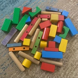Handcrafted colorful wooden blocks play set